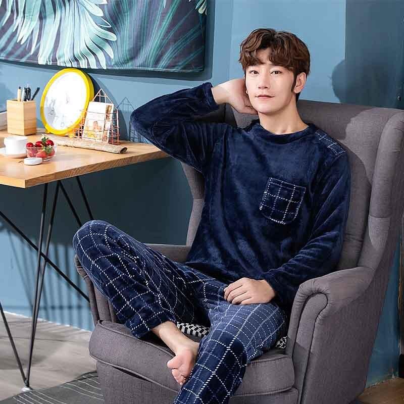 inverno manga longa grosso quente flanela pijamas conjuntos para homens coral veludo pijamas terno  casa roupas
