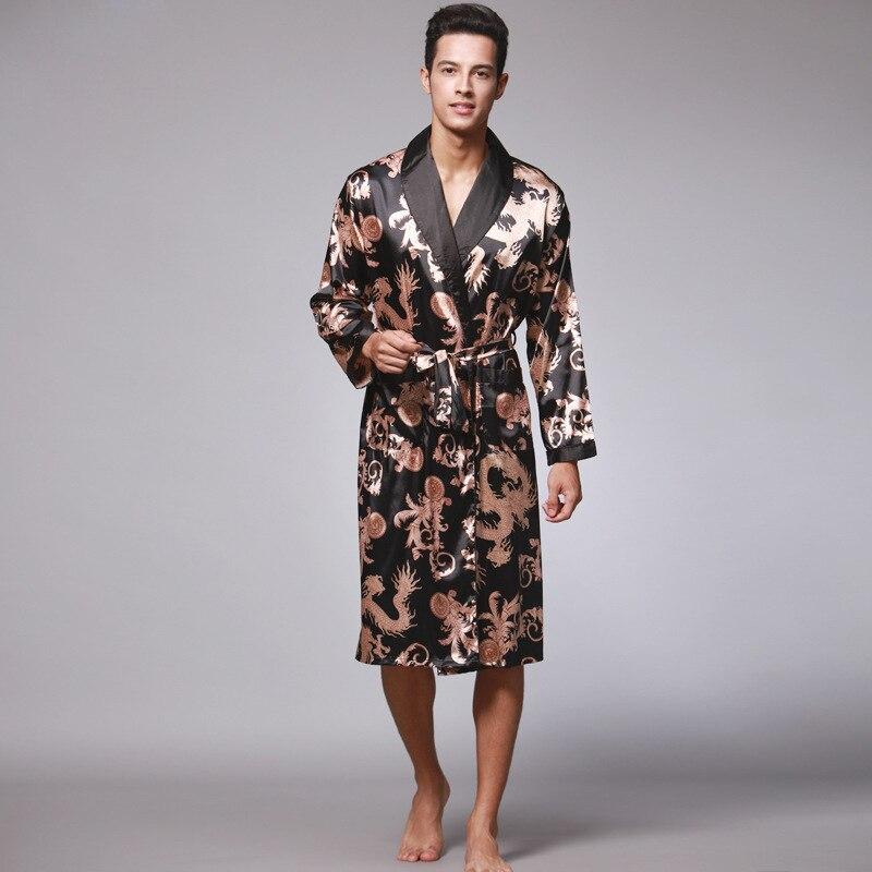 Chinese Men Silk Rayon Robe Summer Casual Sleepwear V-Neck Printing Dragon Kimono Yukata Bath Gown Size L XL XXL XXXL