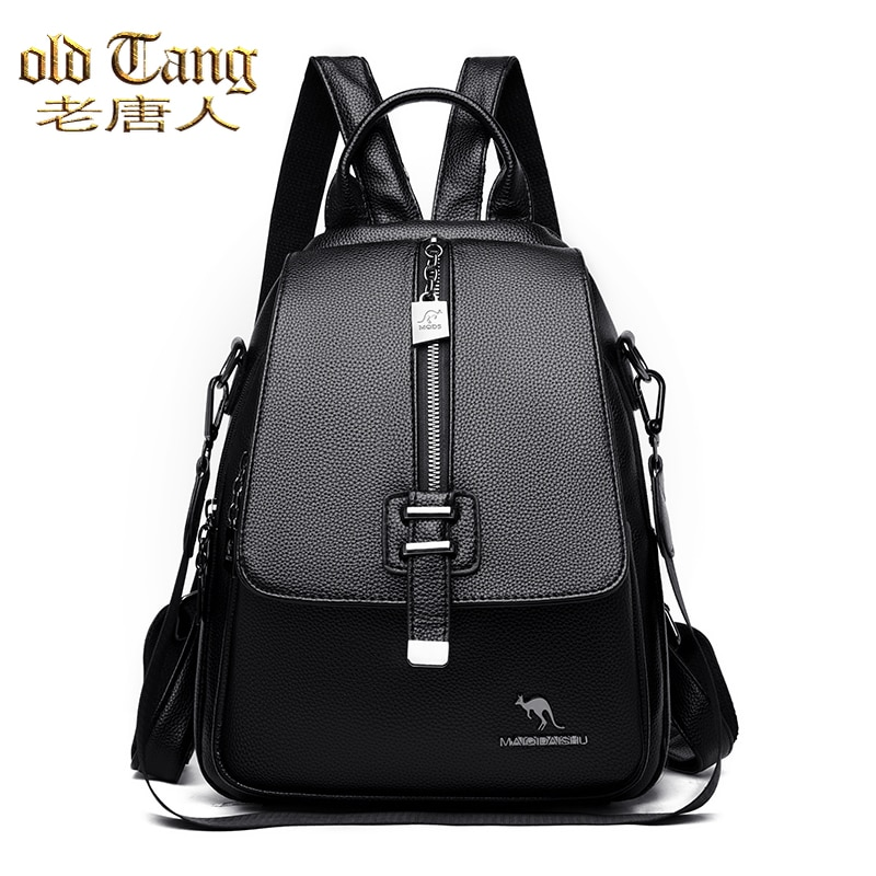 High Quality Leather Fashion Simple Backpacks for Women's Bags 2021 New  Fashion Leisure Travel Coll