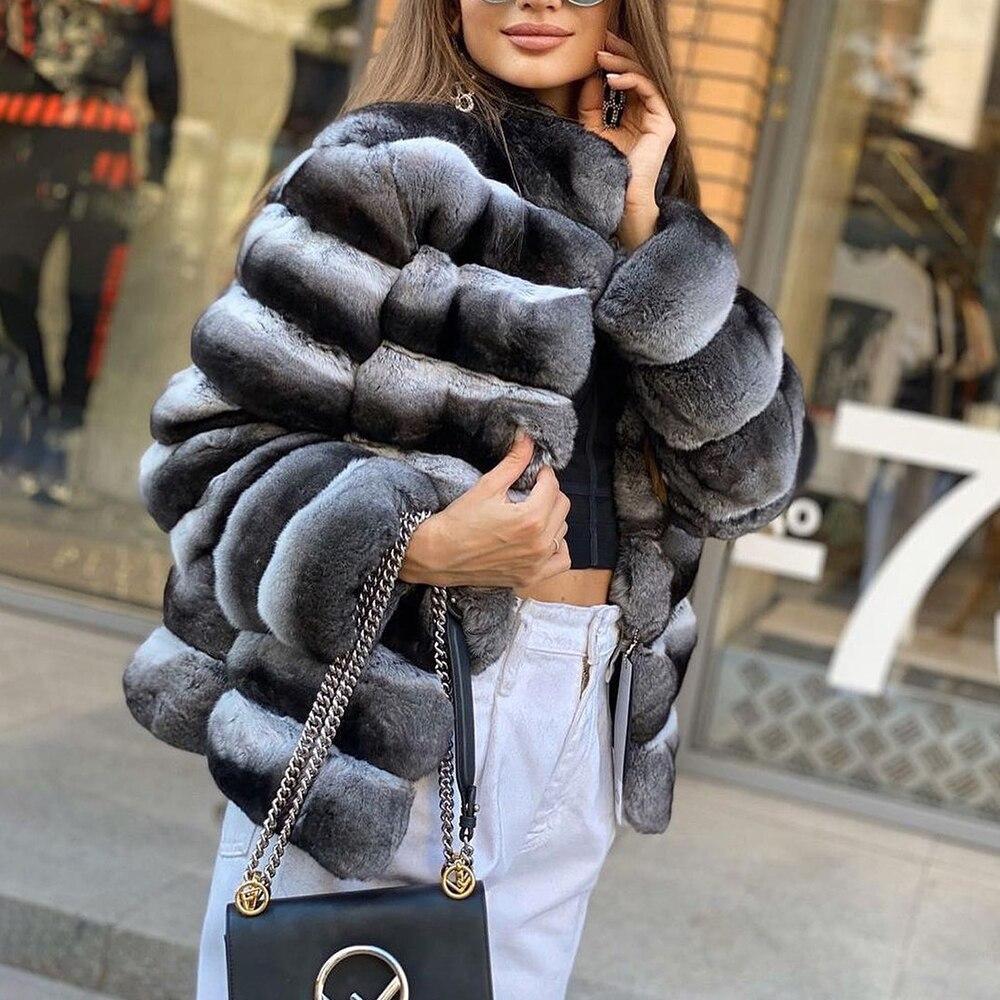 Зимние трендовые настоящие штативы, воротник-стойка, новинка 2021, модные настоящие пальто из натуральной кожи шиншиллового цвета из натурал...