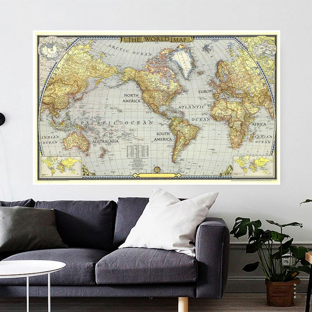 1943 винтажная карта мира 225*150 см настенный художественный плакат нетканый холст живопись гостиная домашний офис Декор школьные принадлежно...