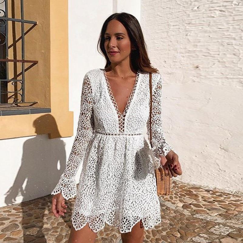فستان صيفي قصير من الدانتيل الأبيض A-Line ، فستان حفلات صغير ، بسيط ، ياقة على شكل V ، للصغار ، YSAN668