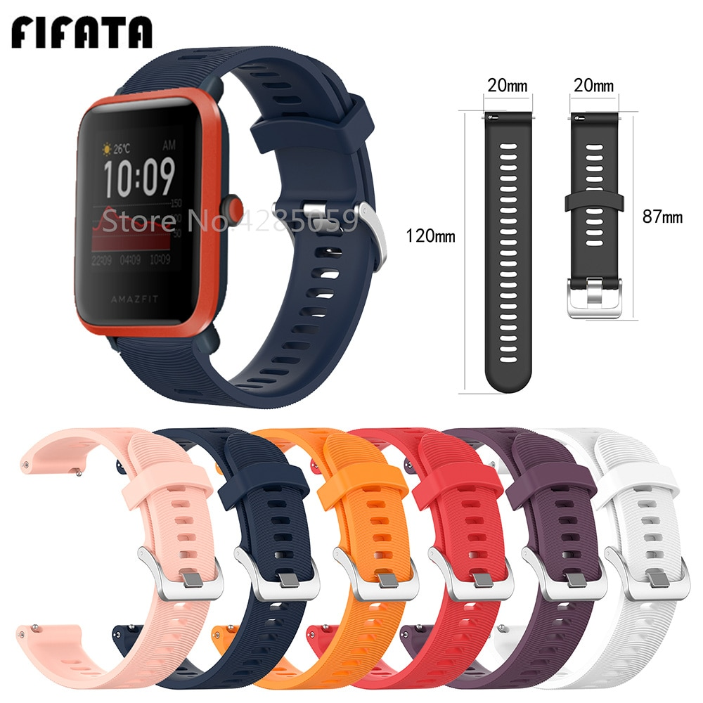 FIFATA 20MM correa de reloj de silicona de liberación rápida para Huami Amazfit Bip/Bip S Correa de reloj inteligente para Garmin Forerunner 245/245M/Venu