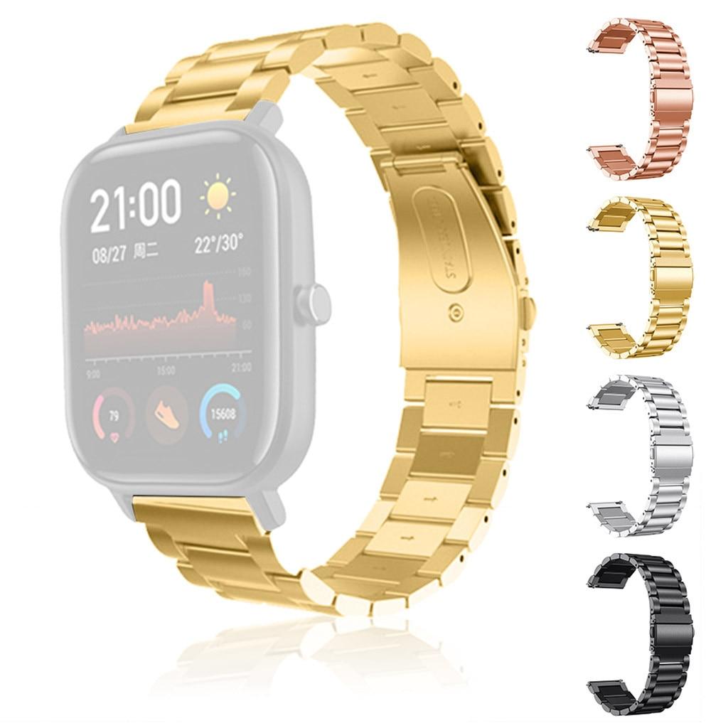 Correa de acero inoxidable para reloj AMAZFIT GTS, pulsera de Metal de Color dorado y plateado con cierre plegable para hombre y mujer