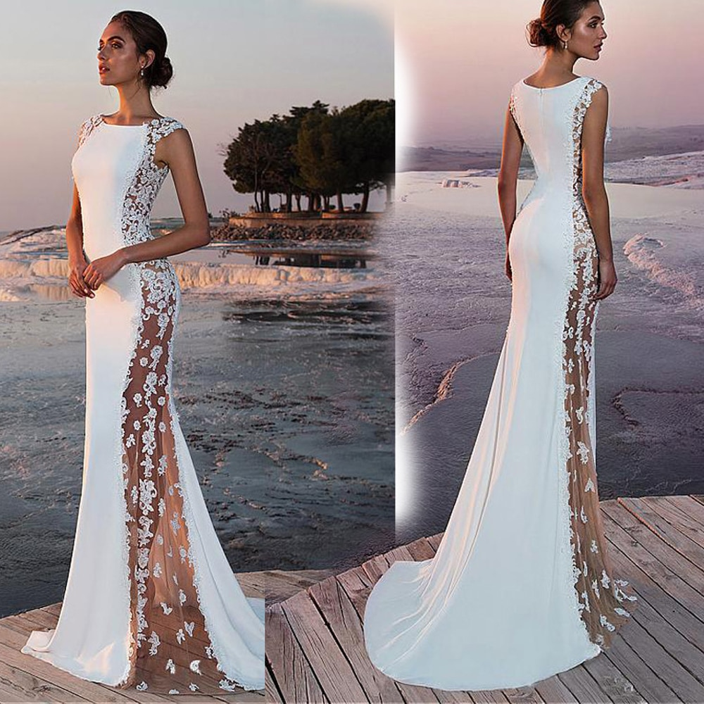 Women Formal Lace Sleeveless Sexy Long Evening Party Bodycon Prom Gown Elegant Formal Dress White