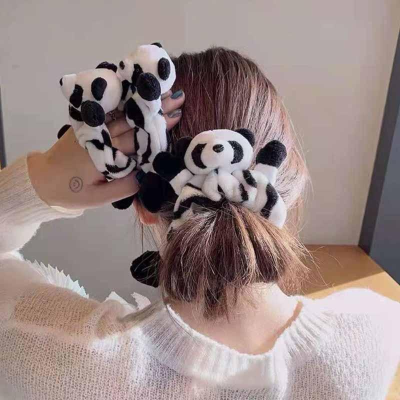 Bande élastique pour cheveux Panda, chouchous, mignon, en peluche, noir, blanc, cravate, porte-queue de cheval, accessoires de cheveux pour femmes et filles