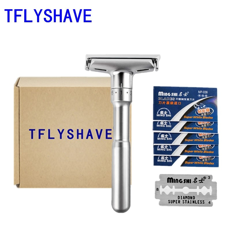 TFLYSHAVE ajustable de la maquinilla de afeitar de seguridad y los hombres de afeitar clásica de la maquinilla de afeitar de seguridad Mingshi maquinilla de afeitar cuchillas con 5 hojas
