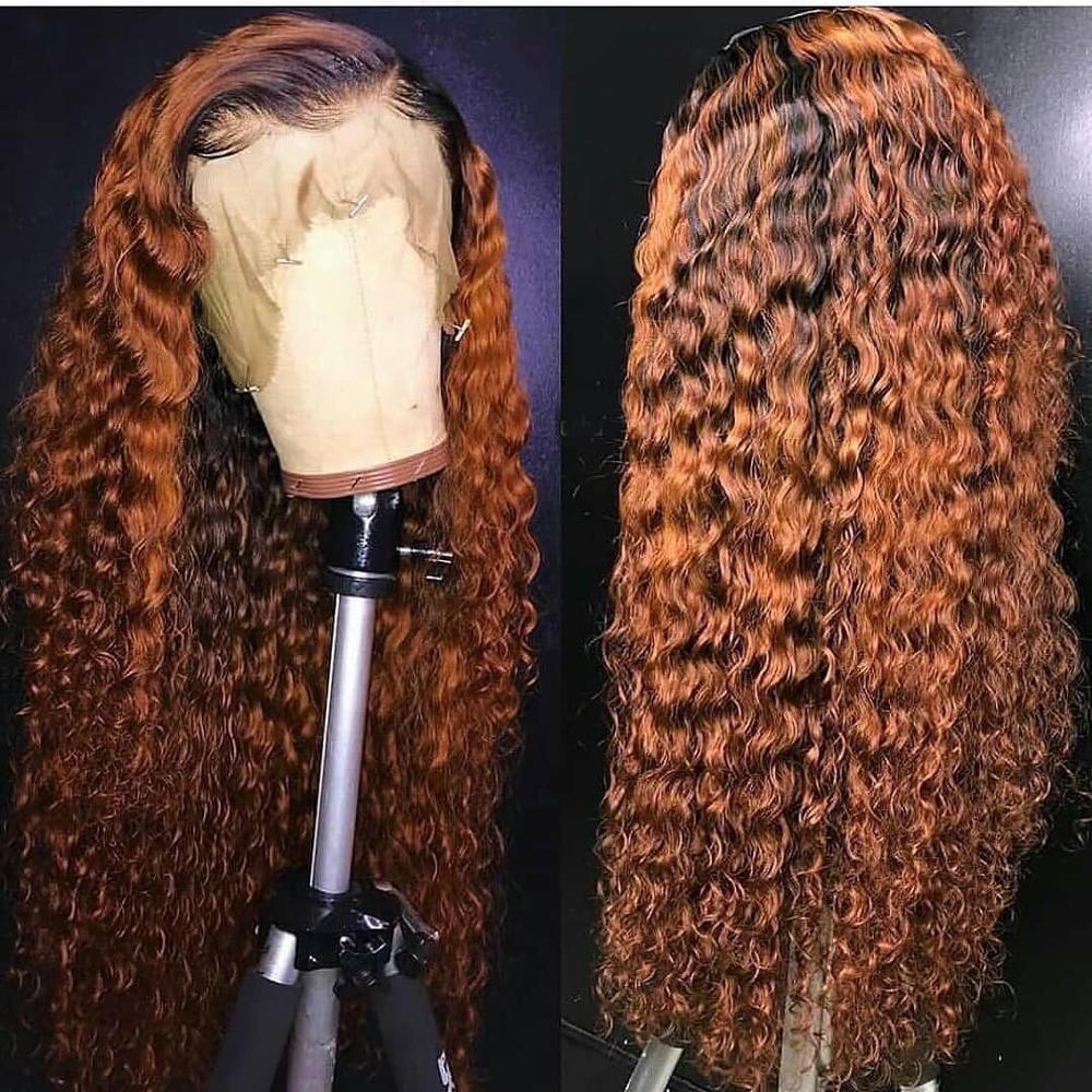 Frente do laço perucas de cabelo humano profundamente encaracolado 1b cor marrom 13x6 perucas de cabelo frontal do laço com o cabelo do bebê preplucked remy cabelo
