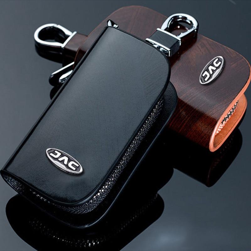 Genuine Leather Car Key Bag Case Cover Wallet With Logo For JAC Refine S2 S3 S4 S5 S7 R3 J3 J3S J3 T