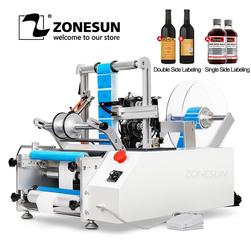 ZONESUN XL-T801 Semi-automatic PET Plastic Tin Can Double Single Label Glass Water Milk Juicer Round Bottle Labeling Machine