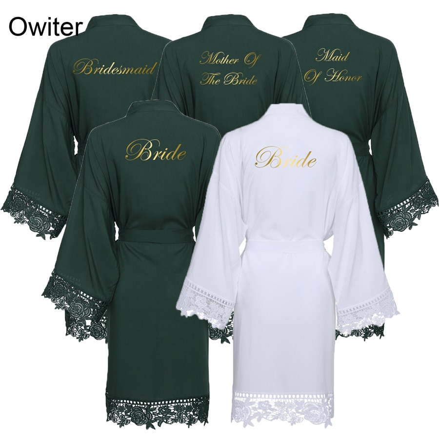 Owiter 2019 New Dark Green Cotton Kimono Bride Bridesmaid Robes w/ Lace Trim Women Wedding Bridal Robe Bathrobe Sleepwear White