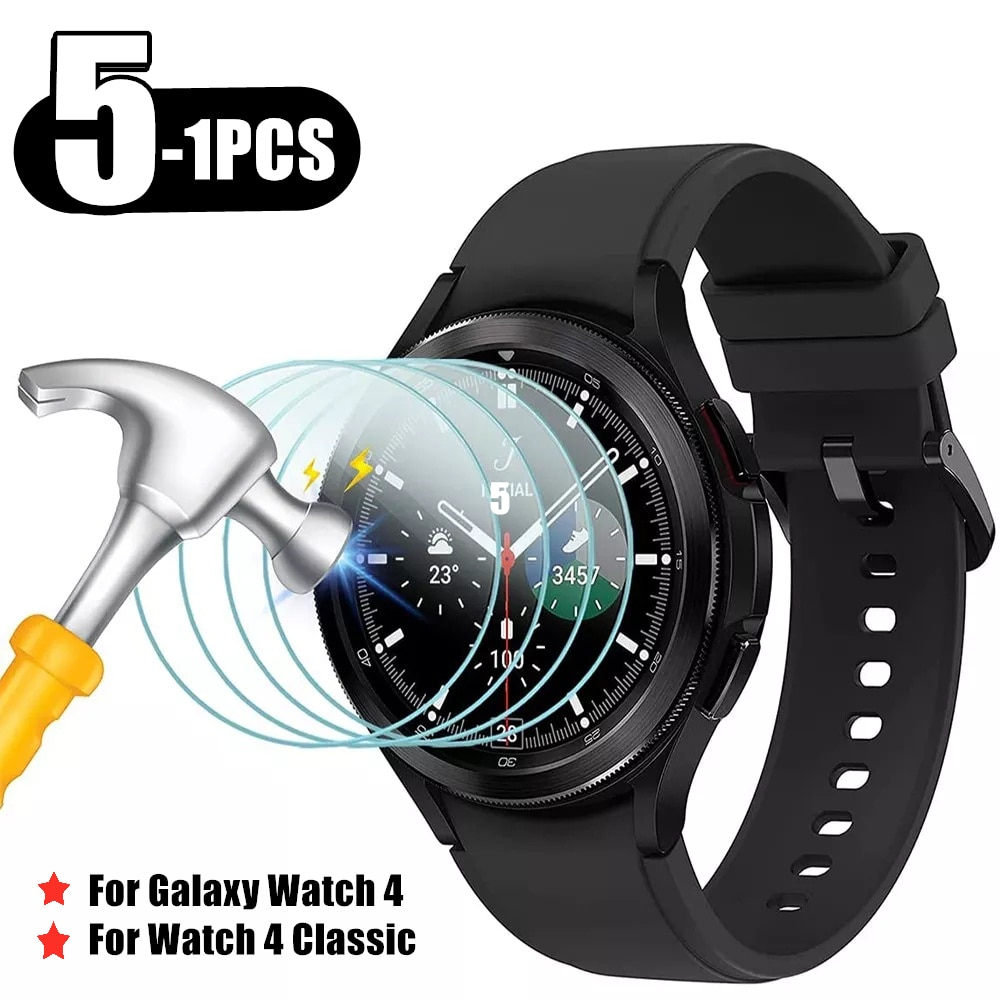 5/2/1 Pack Tempered Glass Protector For Samsung Galaxy Watch 4 40mm 44mm Screen Film on For Galaxy Watch 4 Classic 42mm/46mm