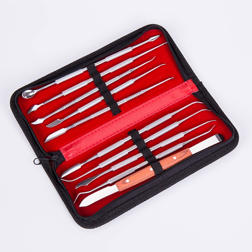 Outil de sculpture de poterie dargile Double face de cire de spatule dacier inoxydable de 10 pièces/ensemble avec le sac de stockage outils dentaires portatifs de couteau