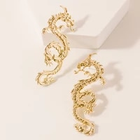 vintage chinese dragon stud earrings for women punk personality animal totem earrings statement jewelry 2020 new gift for girls