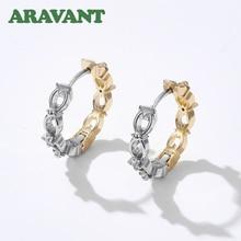 925 Silver 8 Word Hoop Earrings For Women Fashion Wedding Jewelry Gifts