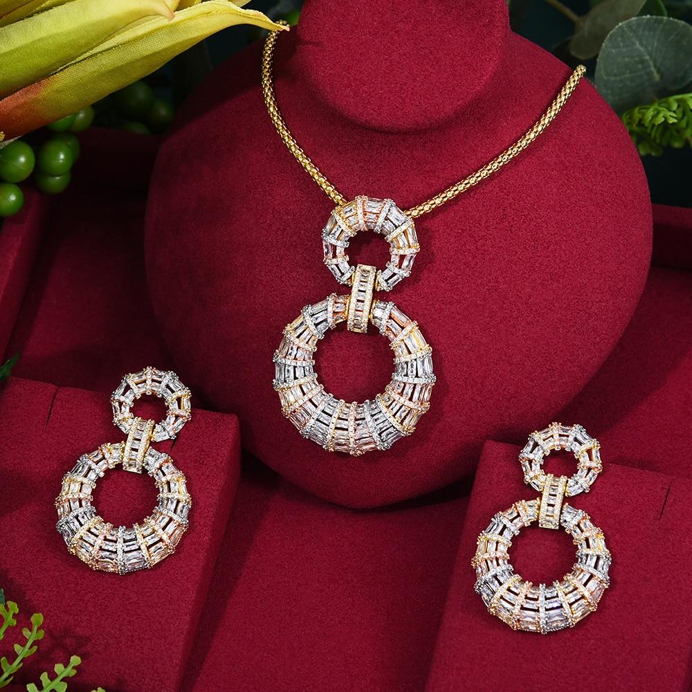 GODKI-طقم أقراط وقلادة فراشة للنساء ، ماركة مشهورة ، طقم مجوهرات زفاف فاخر ، مكعب زركونيا ، دبي ، مجوهرات الزفاف