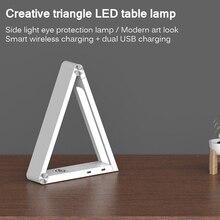 Triangle sans fil charge lampe de bureau pliable gradation travail lumière créative LED lecture maison Table USB 2.0 plusieurs Modes de couleur