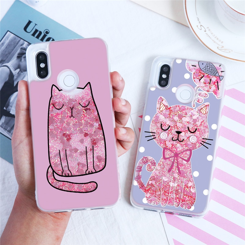 Cartoon Animal Cats Liquid Quicksand Pink Sequins Glitter Cover For Xiaomi Mi A1 5X A2 6X 5 5S 6 8 Lite 8X 9 9T Pro Mix 2 Case