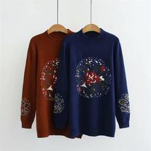 De talla grande donkerblauw y caramelo kleur herfst invierno vrouwen truien Coltrui Jacquard Gebreide mujeres trui wol vrouwelijke
