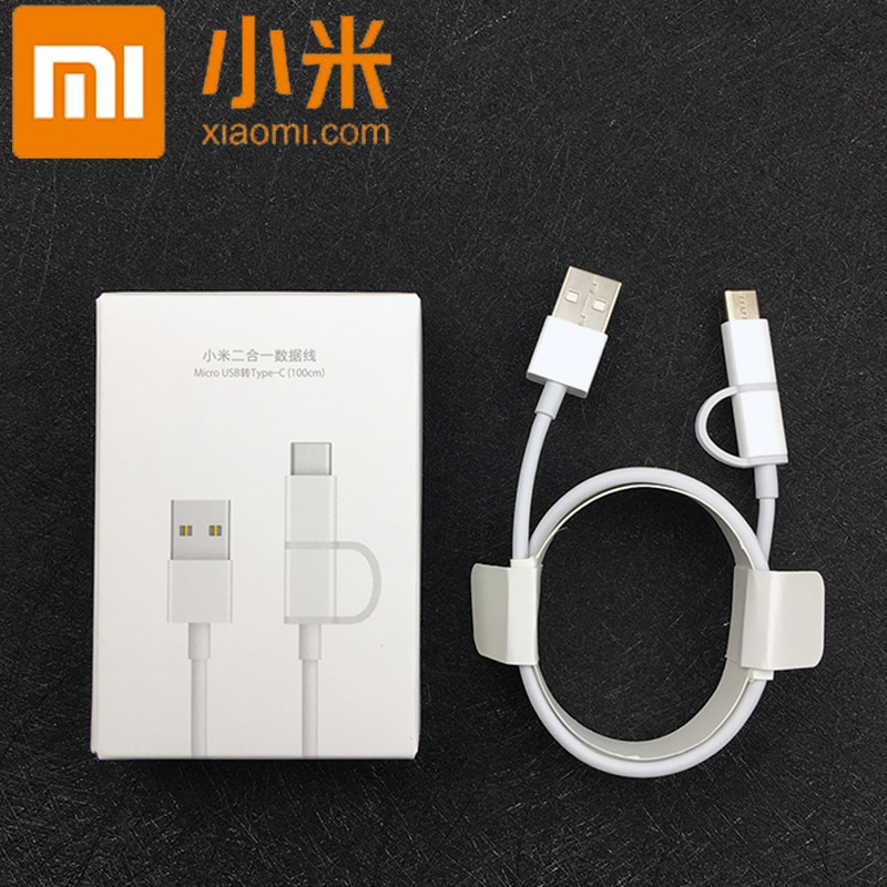 Original xiaomi 2 in1 Fast charger Cable USB Micro usb to Type c cable for mi a1 a2 lite note 6 5 8 9 redmi note 7 k20 pro max 3