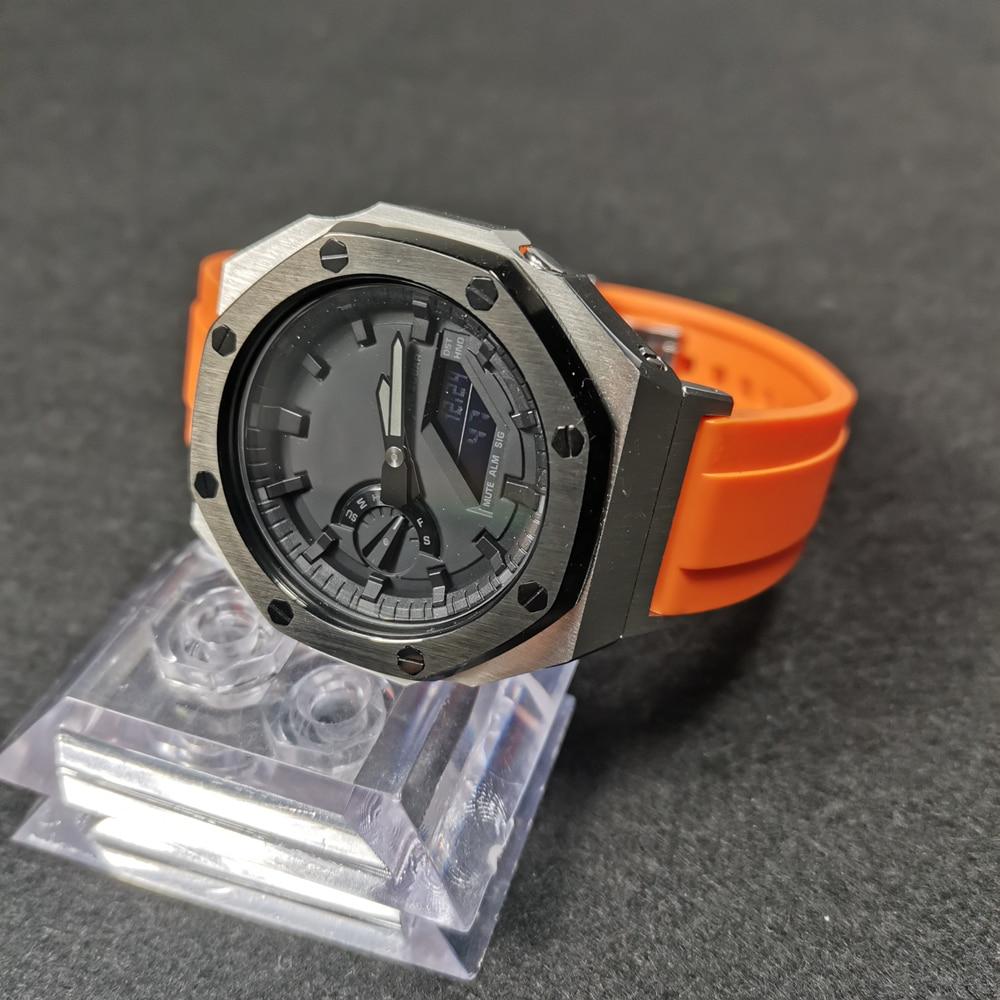 Pulseira de Relógio com Adaptador e Metal Pulseira de Relógio e Caixa de Relógio com Ferramentas e Parafusos Bezel Flúor Borracha Ga-2100 – 2110