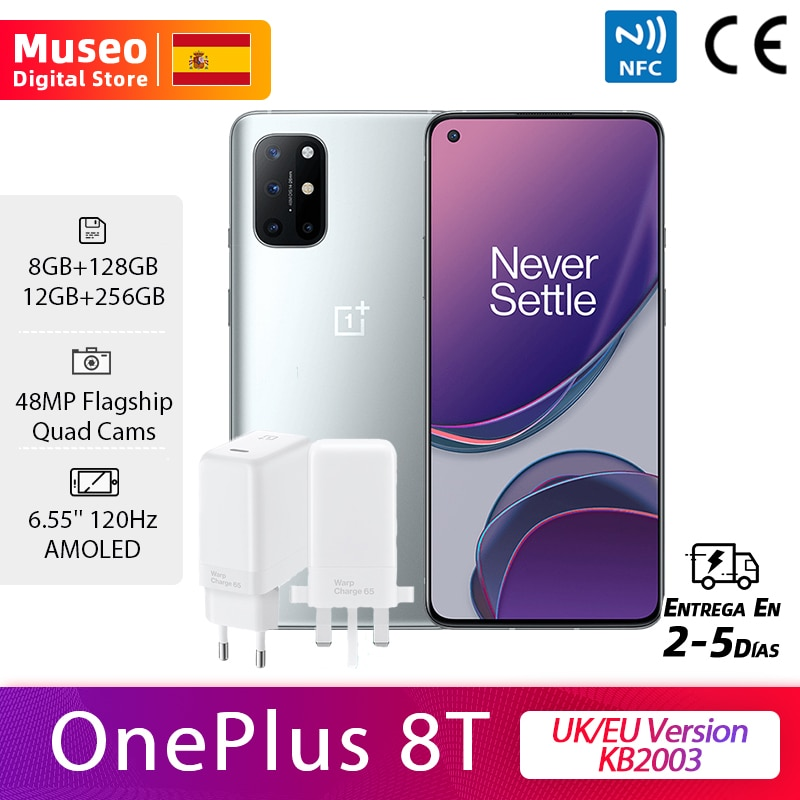 Global Version OnePlus 8T KB2003 Smartphone Snapdragon 865 8GB 128GB 6.55'' 120Hz Fluid Display 48MP Quad Cams 65W Charge NFC