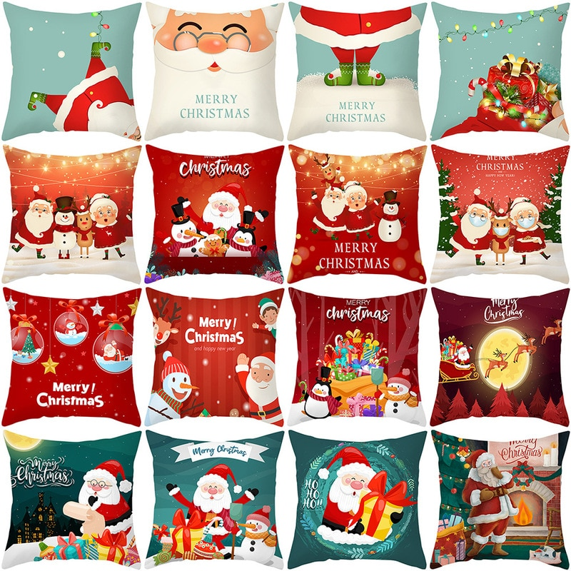 merry christmas cushion cover christmas decorations for home happy new year decor christmas ornament cotton linen pillow cover pillowcase 45cm x 45cm 45cm Merry Christmas Cushion Cover Pillowcase 2021 Christmas Decorations for Home Xmas Noel Ornament Happy New Year 2022