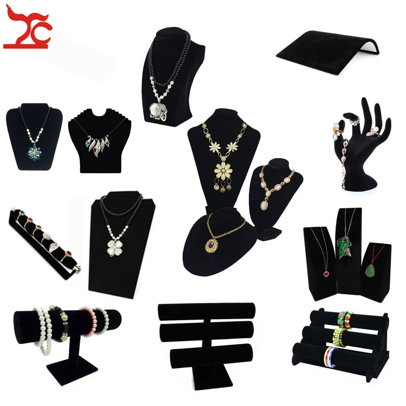 Black Velvet Series Jewelry Organizer Holder Wooden Jewellery Necklace Stand Bangle Earring Watch T