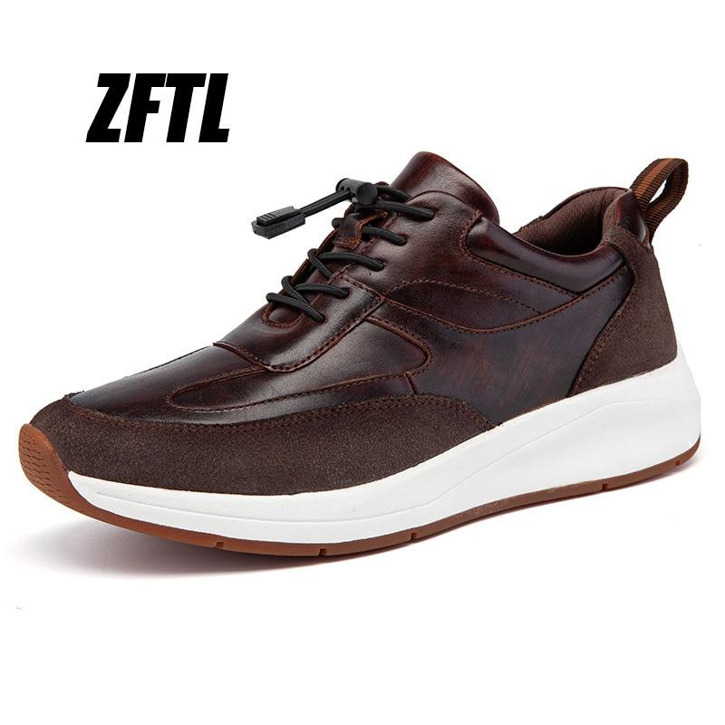 ZFTL-أحذية غير رسمية للرجال ، أحذية رياضية من الجلد الطبيعي بنعل سميك للمشي والجري والمشي ، مجموعة جديدة 2020