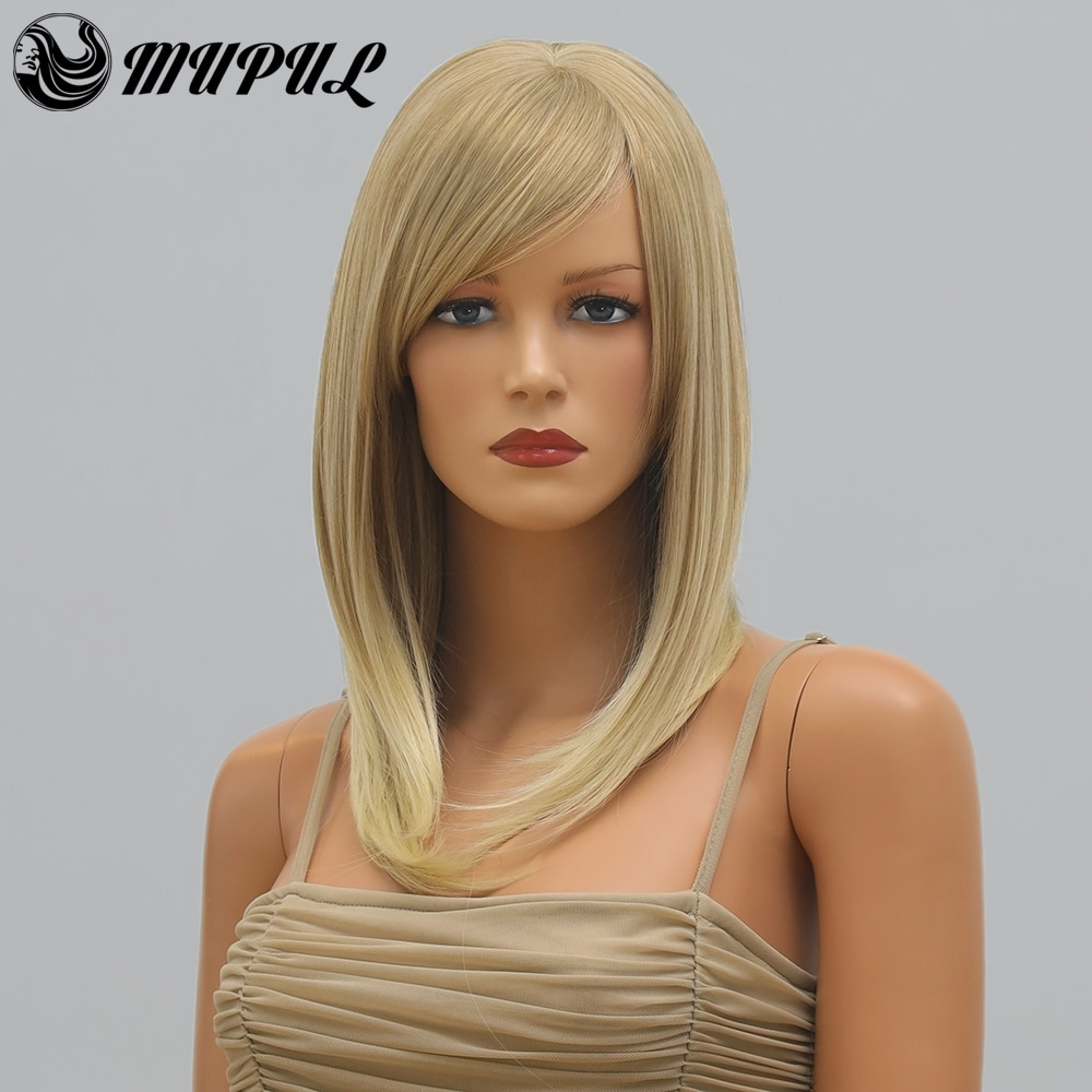 Blonde Straight Office Lady Daily Synthetic Wig With Bangs For White Women Natural Heat Resistant Cosplay Female Hair GOLD Wigs