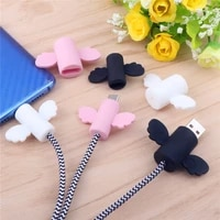 cute angel wing cable protector type c usb charger cord cable winder organizer holder for micro usb c line cable bite protector