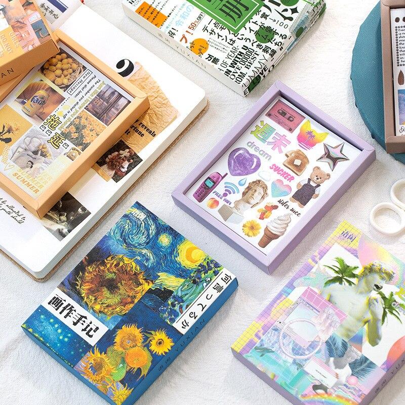 50 cs/box colorido sonho decorativo papelaria adesivos scrapbooking diy diário álbum retro vaporwave vara lable
