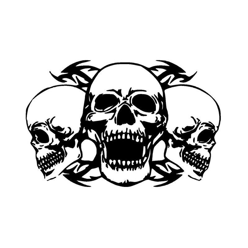 Персонализированные автомобильные наклейки на заказ тройным черепом интересные мотоцикл виниловые наклейки черный/серебристый Водонепро...