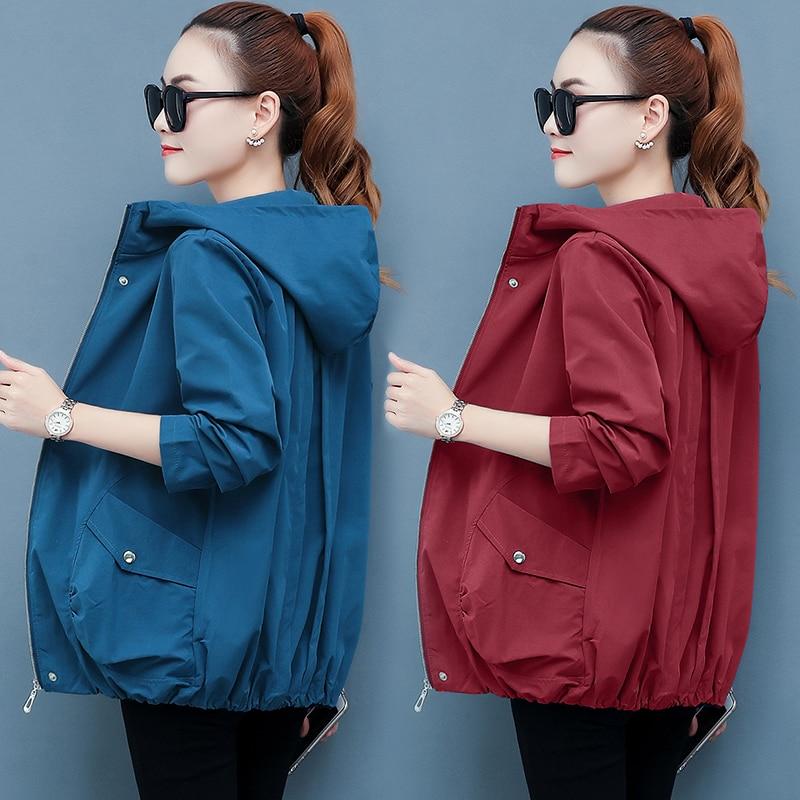 Women Cool Jacket Zipper Hooded Solid Cotton Loose Plus Size M-3XL Thin Spring Autumn Japan Streetwear B90