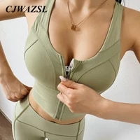 womens yoga sports top zipper design sports underwear ladies shockproof cross beautiful back yoga bra elastic underwear