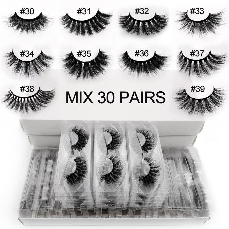 Venta al por mayor de pestañas 3D 20/30/40/50/100 pares de pestañas suaves mullidas maquillaje de cilios a granel faux cils