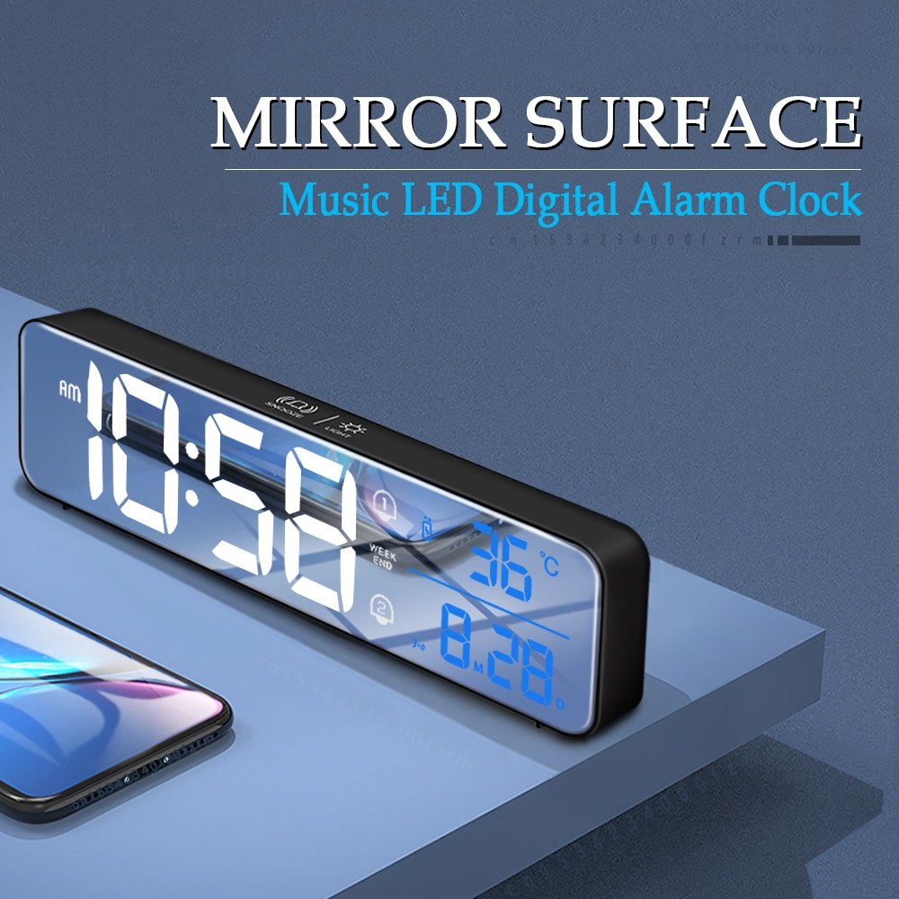 Música alarma Digital LED RELOJ TEMPERATURA indicador de fecha de escritorio espejo...