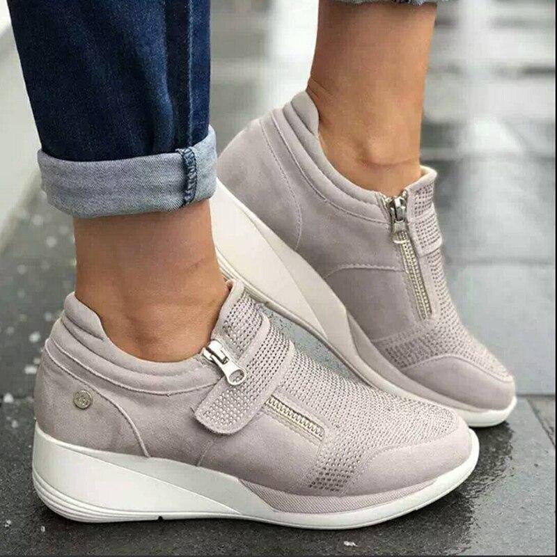 Novo sapatos mulher tênis cinza zíper plataforma formadores mulher sapatos casuais rendas tenis feminino zapatos mujer das sapatilhas das mulheres
