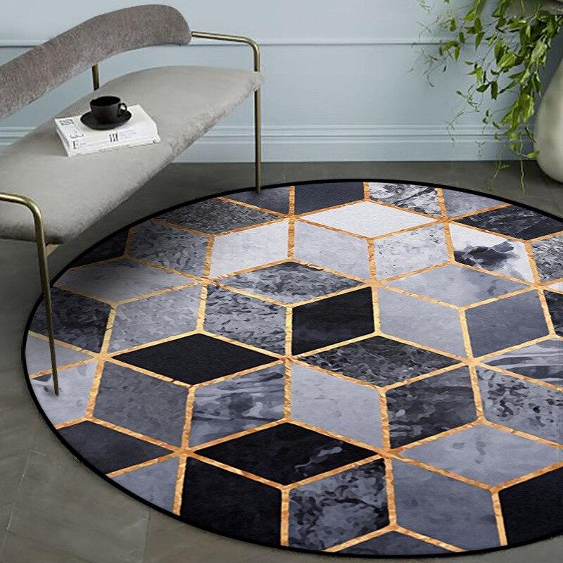 سجادة دائرية ذهبية عصرية ثلاثية الأبعاد بنمط هندسي ، وسجاد دائري غير قابل للانزلاق لغرفة المعيشة وغرفة النوم وطاولة طعام بجانب السرير