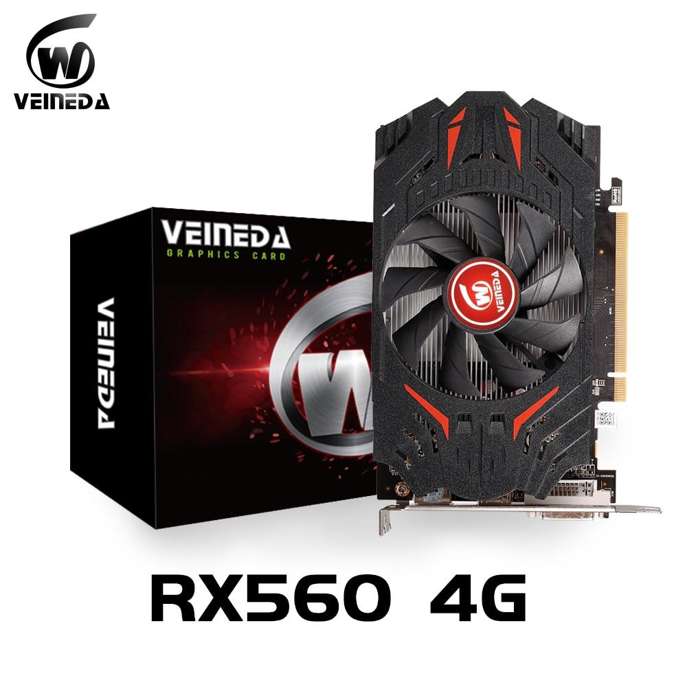 بطاقة فيديو VEINIDA RX 560 4GB وحدة معالجة الرسومات rx 560 4gb بطاقات الرسومات بطاقات الشاشة ألعاب سطح المكتب ل AMD Radeon RX550 4GB R7 350 2G