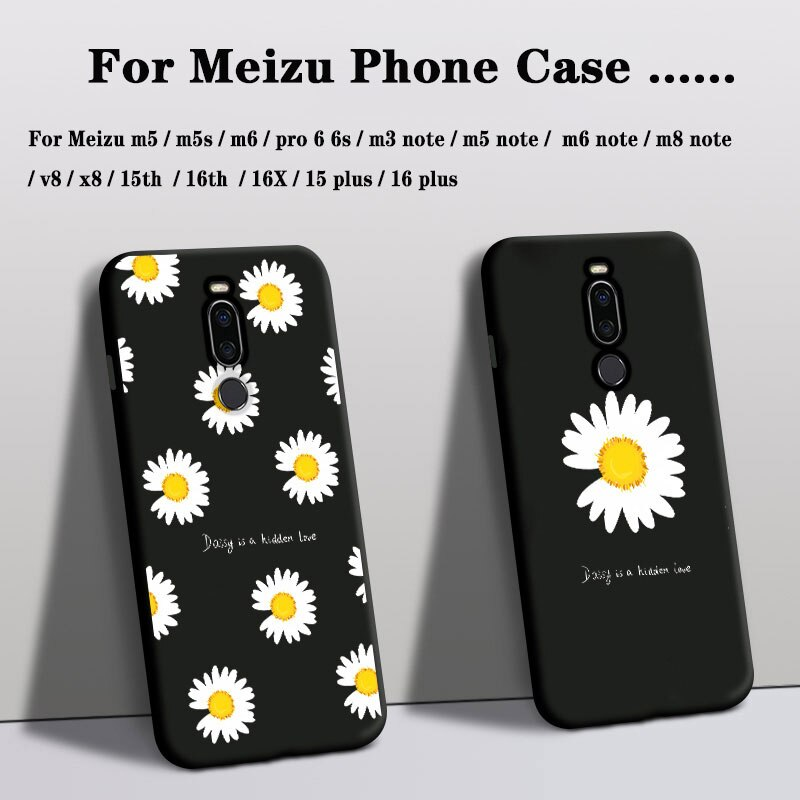 Funda de teléfono para meizu x8 v8 16th 15th cubierta de silicona meizu M5 M5S M6 M8 M3 Note 16 15 plus funda Rosa flor funda trasera Floral tpu