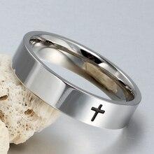6mm Stainless Steel Cross Ring Christian Jesus Christ Lord Prayer for Men and Women