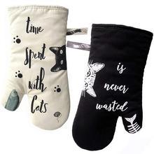 Gants de cuisine antidérapants   1 paire, Cat épais isolation thermique, pour four à micro-ondes, outil de cuisine