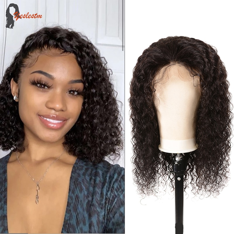 Yeslestm Brazilian Water Wave Lace Front Wig 4x4 Closure Wig Lace Front Human Hair Wigs Short For Wo
