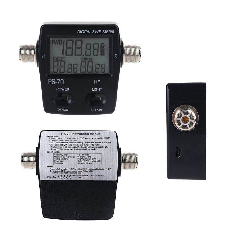 NISSEI RS-70 Digital SWR Power Meter Counter Micro USB-DC 5V Output 1.6-60MHz WXTB