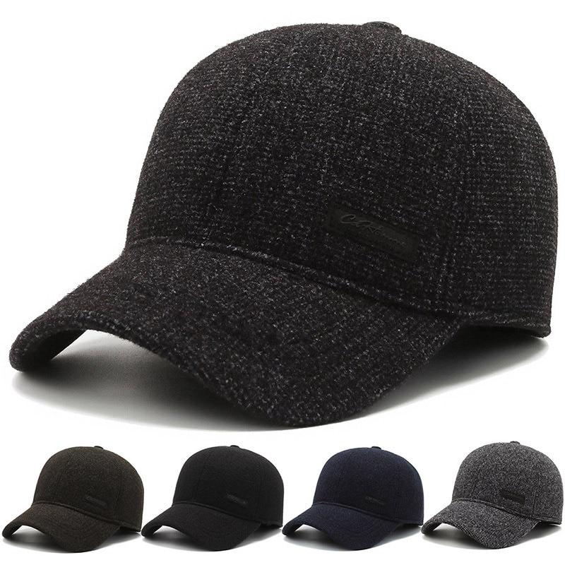 Шерстяная зимняя бейсболка, шапка, мягкая структурированная Регулируемая теплая Бейсболка для папы, теплая Бейсболка со складками
