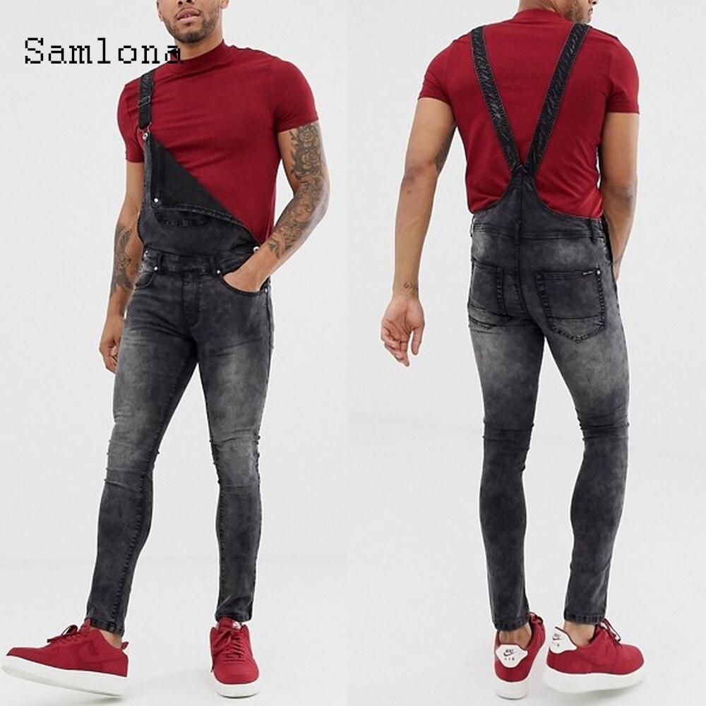Samlona 2021 новые стильные мужские джинсы джинсовые комбинезоны для девочек Сексуальная мужская одежда летние повседневные джинсовые комбинез...