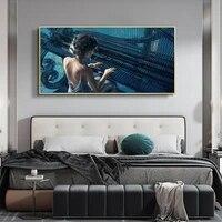 Dessin anime peinture a lhuile jouant piano fille art toile peinture salon couloir bureau decoration murale