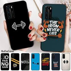 Mantrn esportes fitness dumbbell diy caso telefone de luxo para huawei p20 p30 p20pro p20lite p30lite psmart p10 9lite