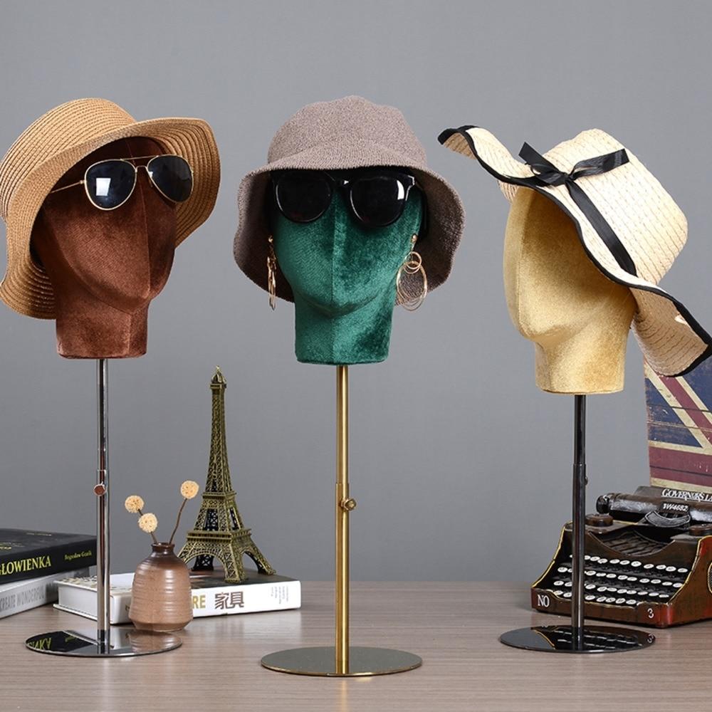 Flannel Hat Rack Tabletop Wig Display Stand Adjustable Height Metal Bracket